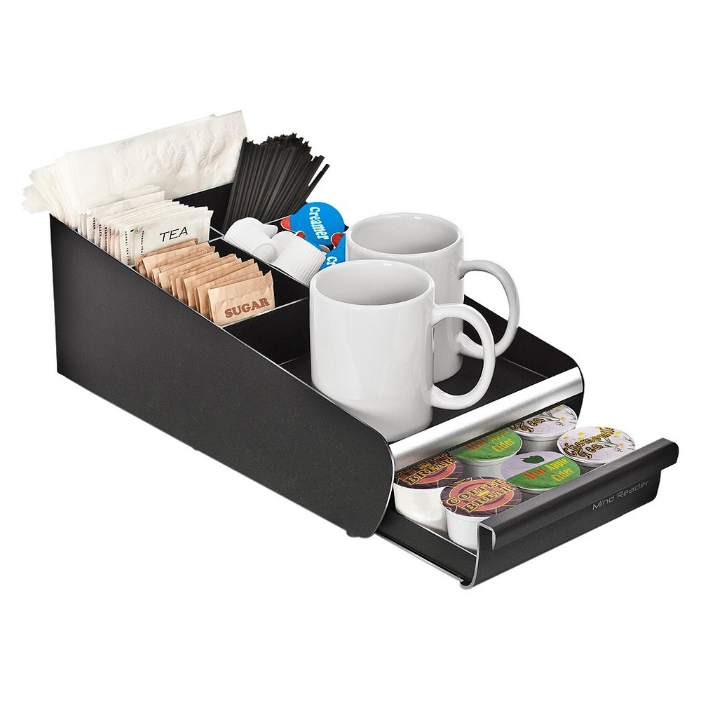 Mind Reader Coffee Condiment Organizer and K-Cup drawer, Black