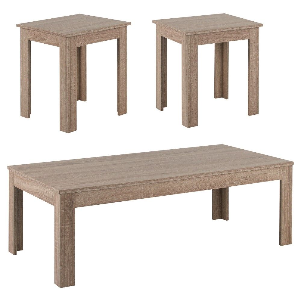 Torrance Simple Modern Accent Table Set Light Oak 3 Piece - Homes: Inside + Out, Brown