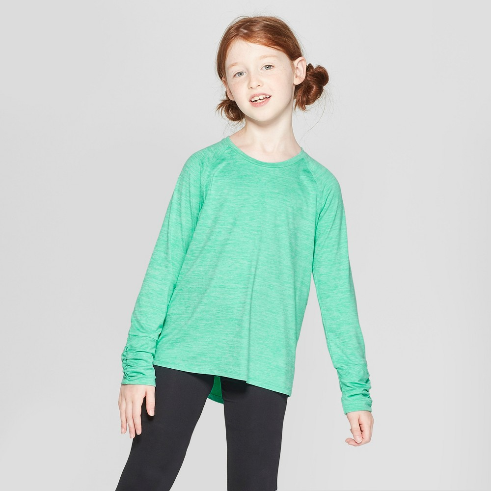 Girls' Ruched Super Soft Long Sleeve T-Shirt - C9 Champion Spring Green M, Green Heather