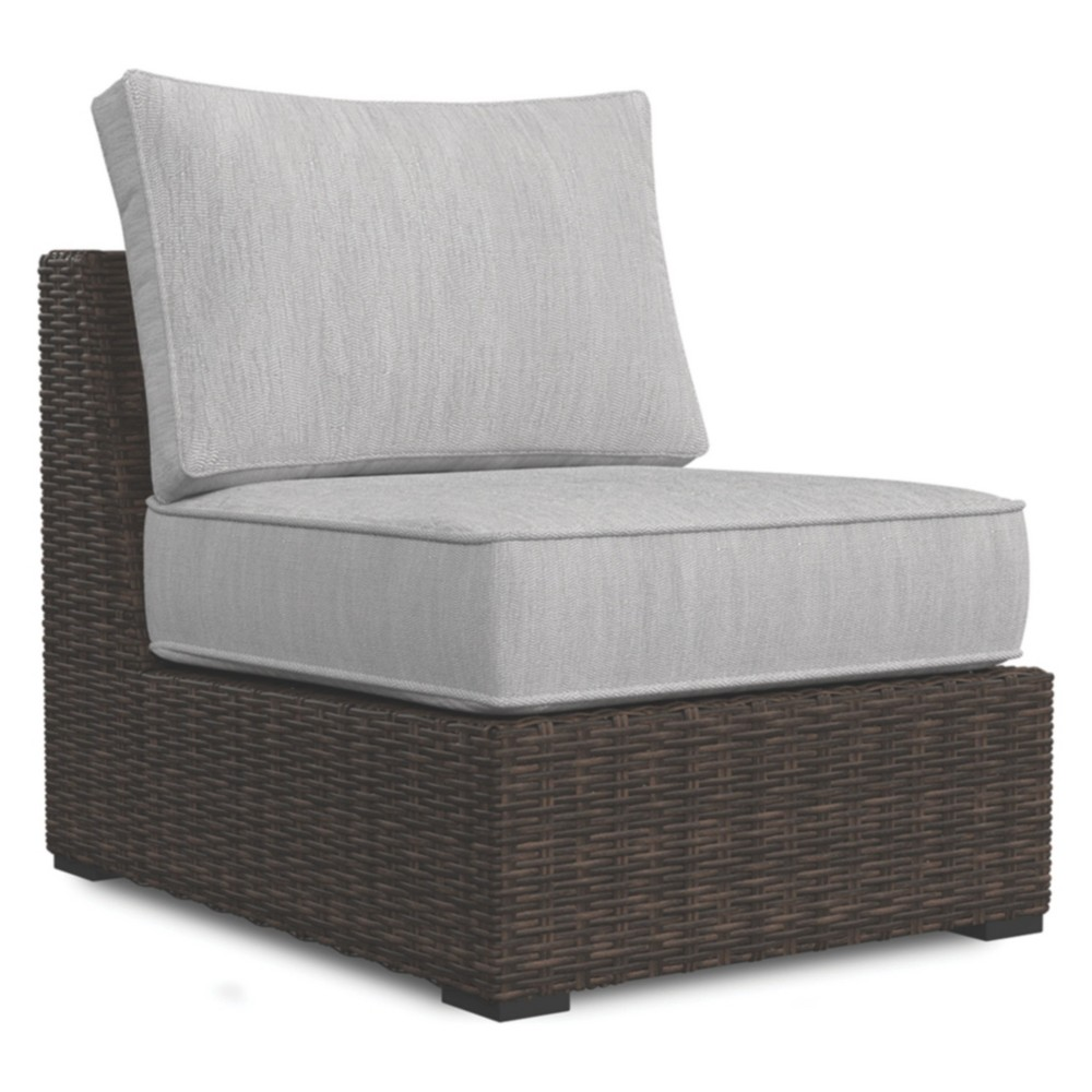 Image of Alta Grande Armless Chair with Cushion - Beige/Brown - Outdoor by Ashley