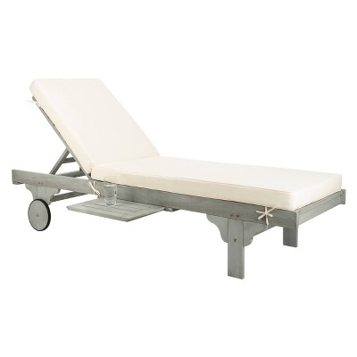 Newport Chaise Lounge Chair With Side Table - Ash Gray/White - Safavieh