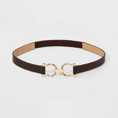 Women's Horse Shoe Buckle Belt - A New Day™ Brown - image 1 of 2