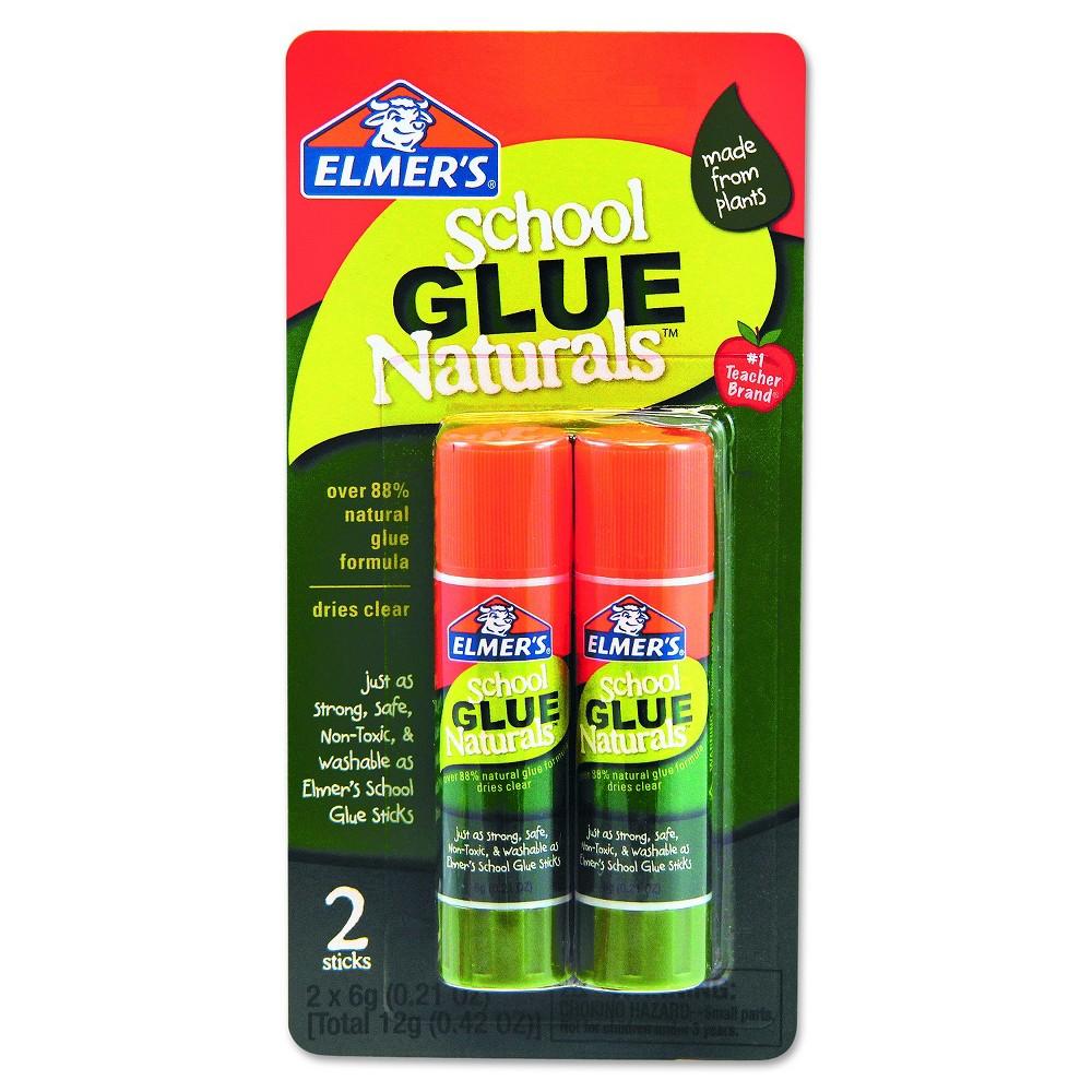 Image of Elmer's School Glue Naturals, Clear, 0.21oz Stick - 2 Per Pack
