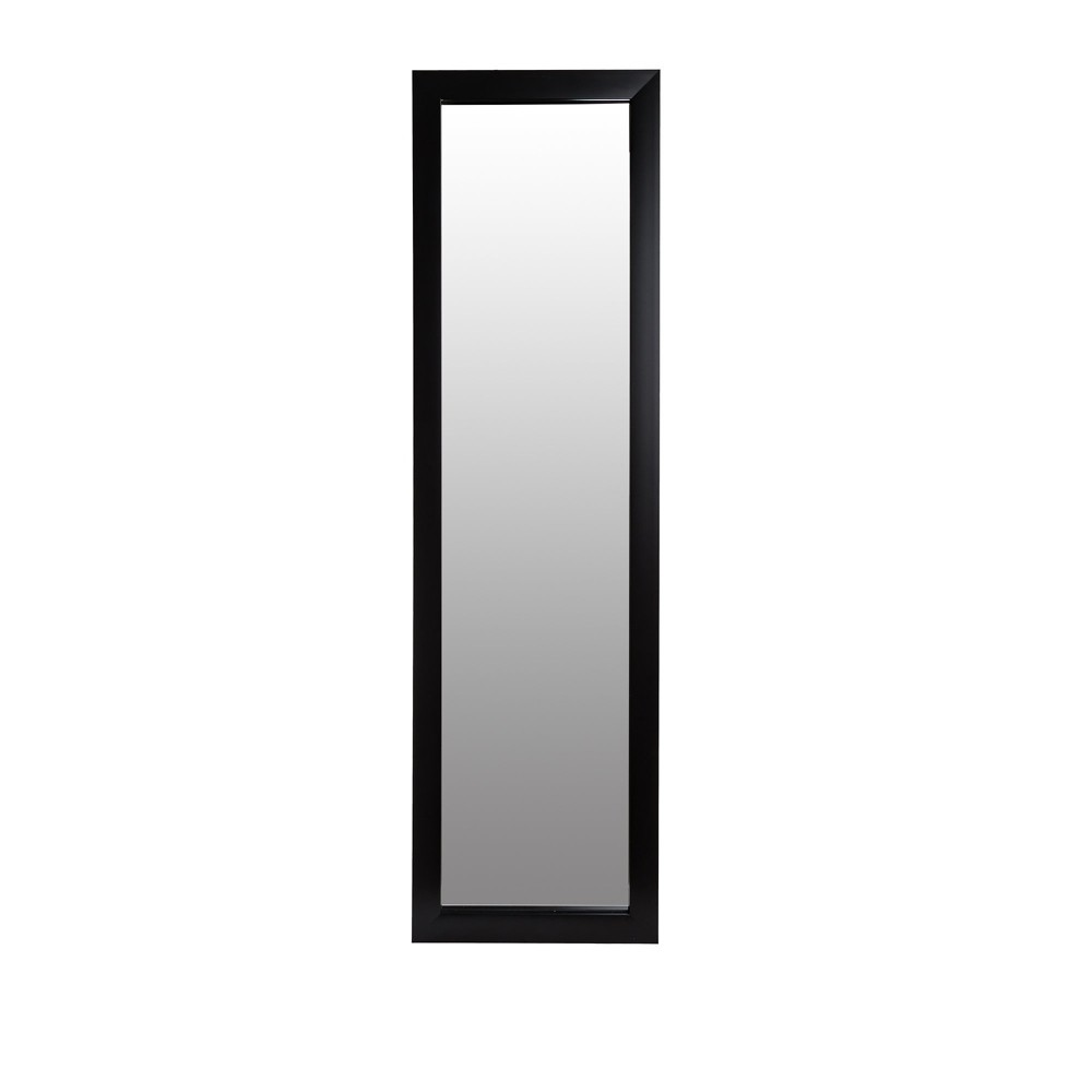 "Image of ""15""""x51"""" Black Full Length Over The Door Mirror Black - Patton Wall Decor"""