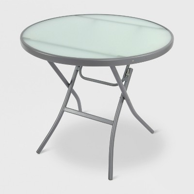 32  Folding Patio Bistro Table Gray/Clear - Threshold™