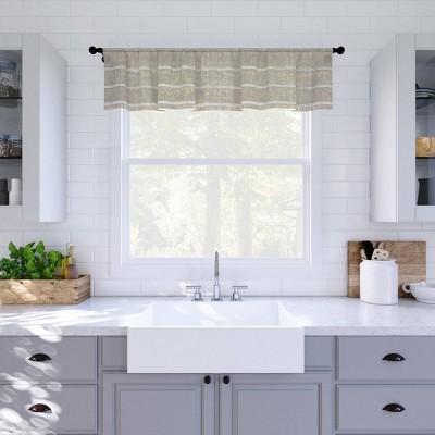 "14""x52"" Twill Striped Anti Dust Sheer Cafe Window Valance - Clean Window"