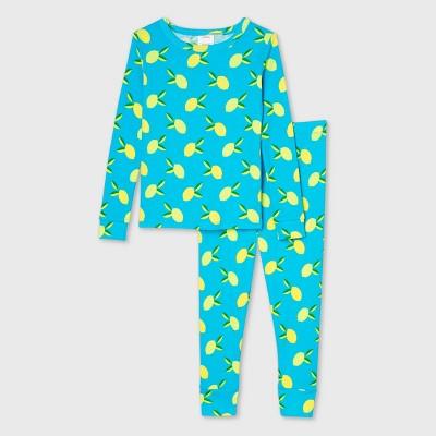 Toddler Lemon Print 100% Cotton Tight Fit Matching Family Pajama Set - Blue