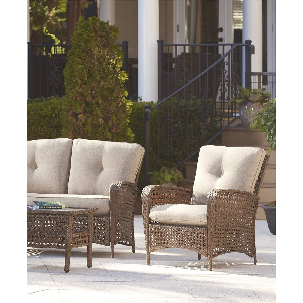 Lakewood Ranch 2pk Steel Woven Wicker Patio Lounge Chairs - Amber and Tan - Cosco Outdoor Living