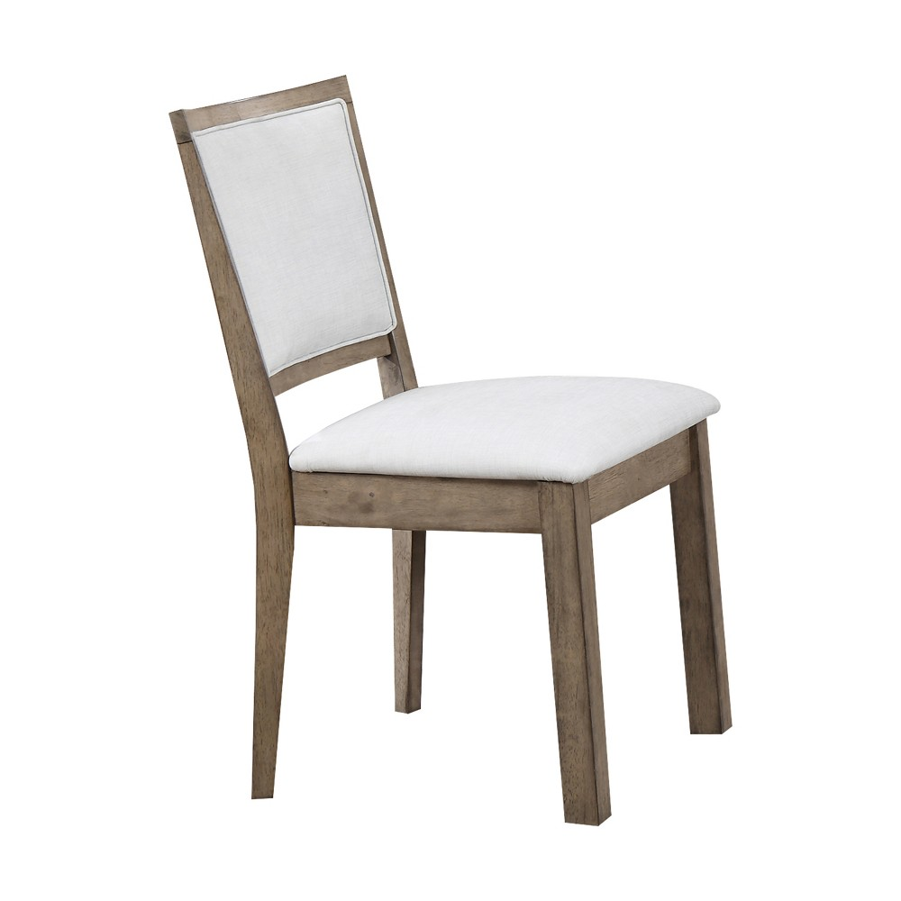 Acme Furniture Set of 2 Paulina Side Chair White/Rustic Oak Brown, White/Rustic Brown Brown
