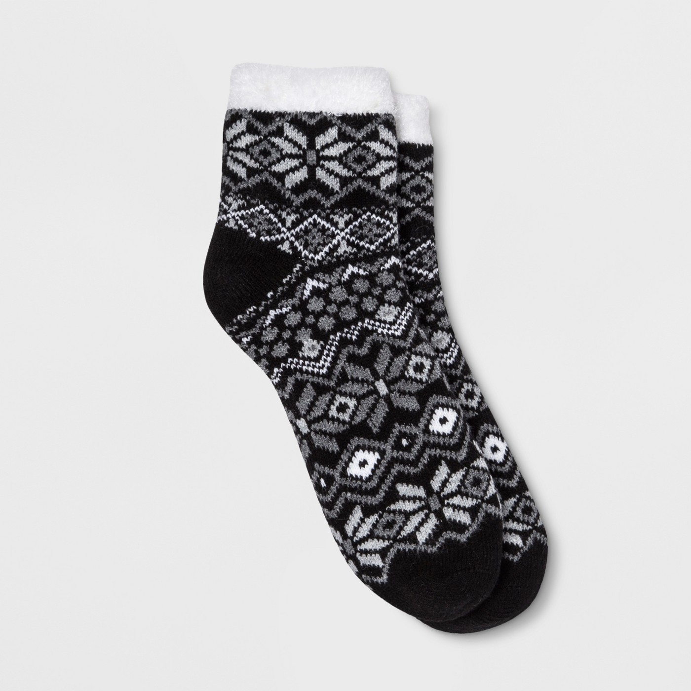 Women's Fair Isle Double Lined Cozy Ankle Socks - Gilligan & O'Malley™ Black One Size - image 1 of 1