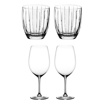 Riedel Sunshine Collection Crystal Whiskey Tumbler Glass and Vinum Bordeaux Grand Cru Crystal Red Wine Glass, Set of 4