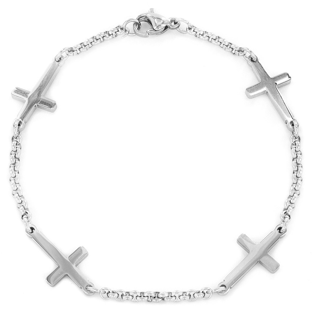 Image of ELYA Stainless Steel Sideways Cross Charm Bracelet, Women's, Silver/Silver