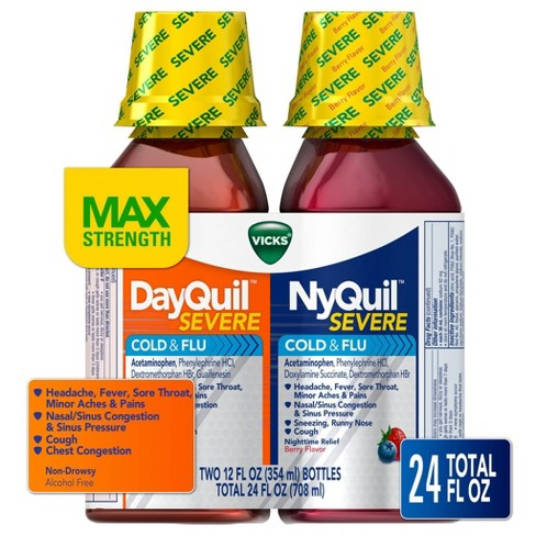 Vicks DayQuil and NyQuil Severe Cold & Flu Relief Liquid - 12oz/2pk - image 1 of 4