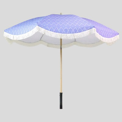 9' Spaced Diamonds Scalloped Patio Umbrella White Fringe - Light Wood Pole - Opalhouse™