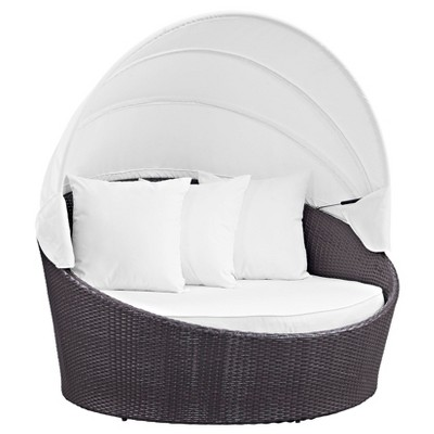 Convene Canopy Outdoor Patio Daybed   Espresso/White   Modway