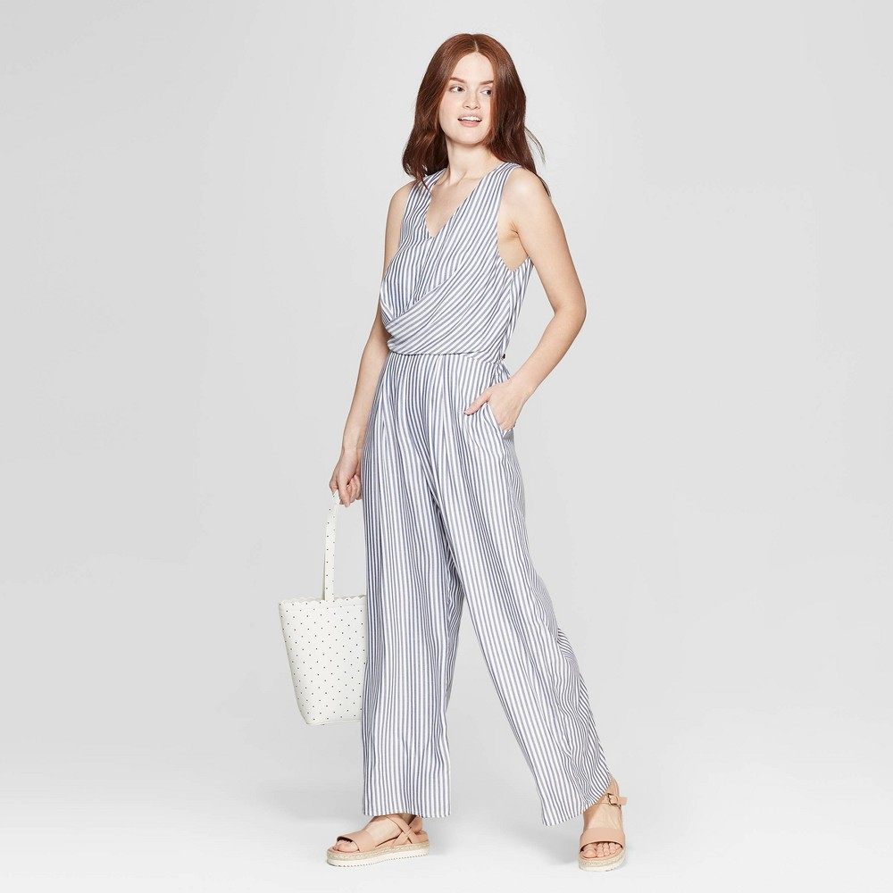 Women's Striped Sleeveless V-Neck Jumpsuit - A New Day White/Blue XS