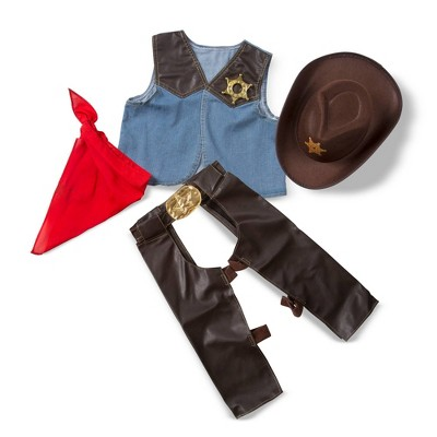 Melissa & Doug Cowboy Role Play Costume Set (5pc) - Includes Faux Leather Chaps
