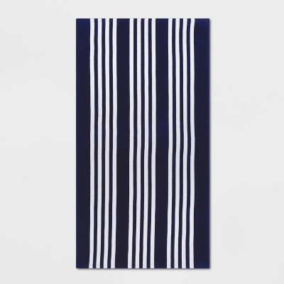 Basics Awning Stripe Beach Towel Navy - Sun Squad™