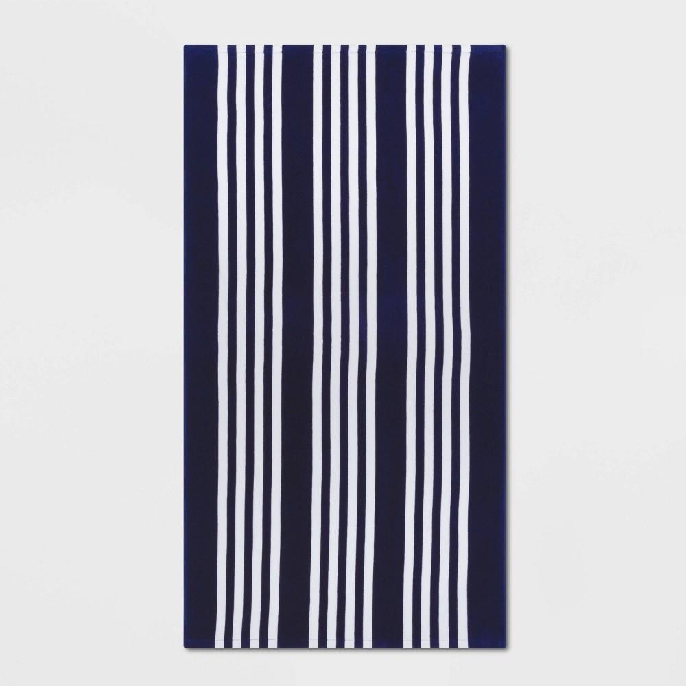 Image of Basics Awning Stripe Beach Towel Navy - Sun Squad