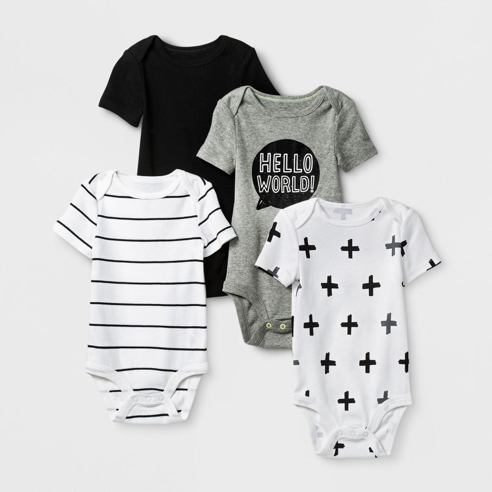 Baby 4pk Short Sleeve Bodysuit Black/White 0-3M - Cloud Island, Infant Unisex