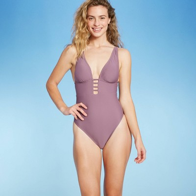Women's Plunge Front Strappy Detail One Piece Swimsuit - Shade & Shore™ Dusk