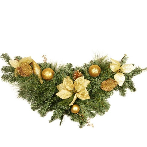 "Northlight  36"" x 13"" Unlit Pine, Gold Poinsettia and Ornament Adorned Artificial Christmas Swag - image 1 of 1"