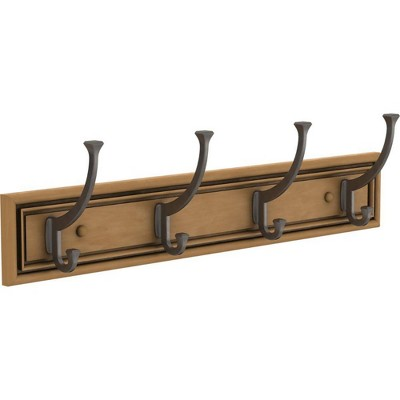 "Franklin Brass 24"" Sleek Square Hook Rack Honey Maple/Bronze"