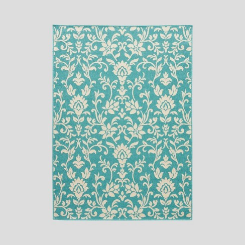 Sea Foam Botanical Outdoor Rug Blue/Ivory - Christopher Knight Home - image 1 of 5