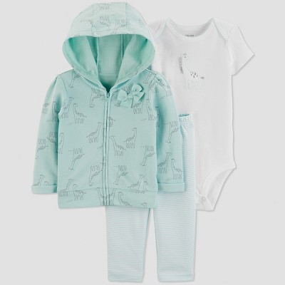 Baby Girls' 3pc Giraffe Short Sleeve Cotton Cardigan Set - Just One You® made by carter's Blue/White 6M