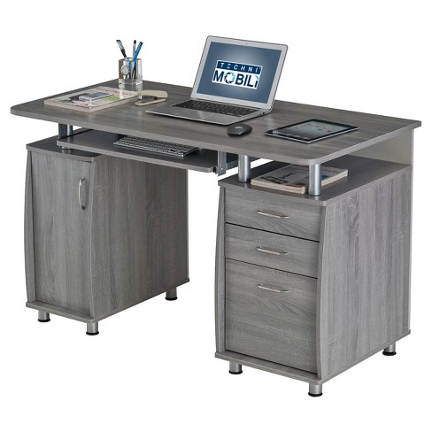 Complete Workstation Computer Desk With Storage Gray Techni Mobili
