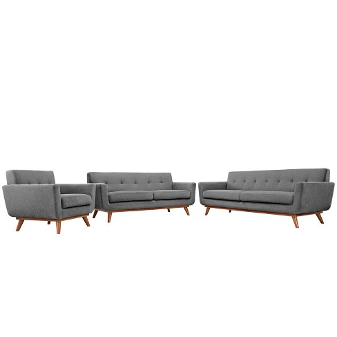 Engage Sofa Loveseat and Armchair Set of 3 Expectation Gray - Modway - image 1 of 6