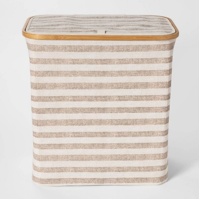 Soft Sided Laundry Hamper With Bamboo Rim Lid -Striped Beige - Threshold™