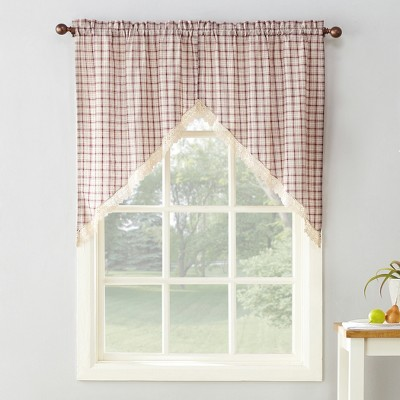 2pc 54 x24  Maisie Plaid Kitchen Blackout Curtain Tier Ruby - No. 918
