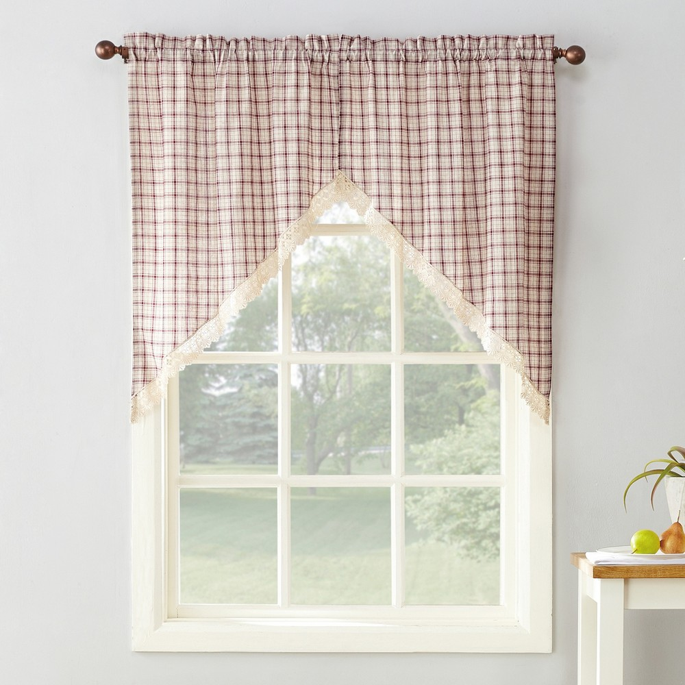 "Image of ""2pc 54""""x24"""" Maisie Plaid Kitchen Blackout Curtain Tier Ruby (Red) - No. 918"""
