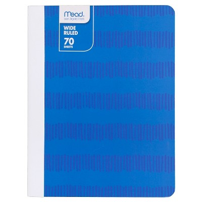 Mead Wide Ruled Striped Composition Notebook Blue