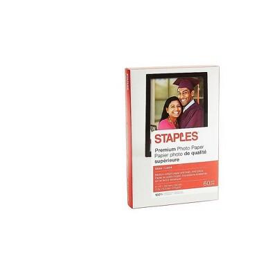 """Staples Premium Glossy Photo Paper 4"""" x 6"""" 60/Pack (19898-CC)"""