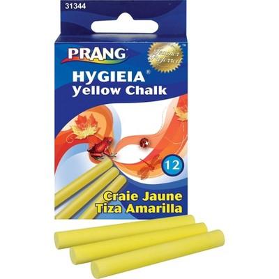 Prang (Ticonderoga) Hygieia Low Dust Chalkboard Chalk Yellow 12/Box 662759