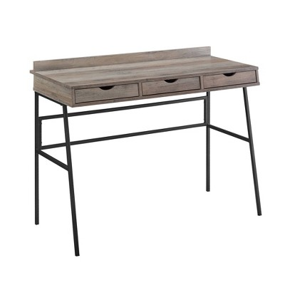 Evelyn 3 Drawer Angled Writing Desk with Cord Management Slots - Saracina Home