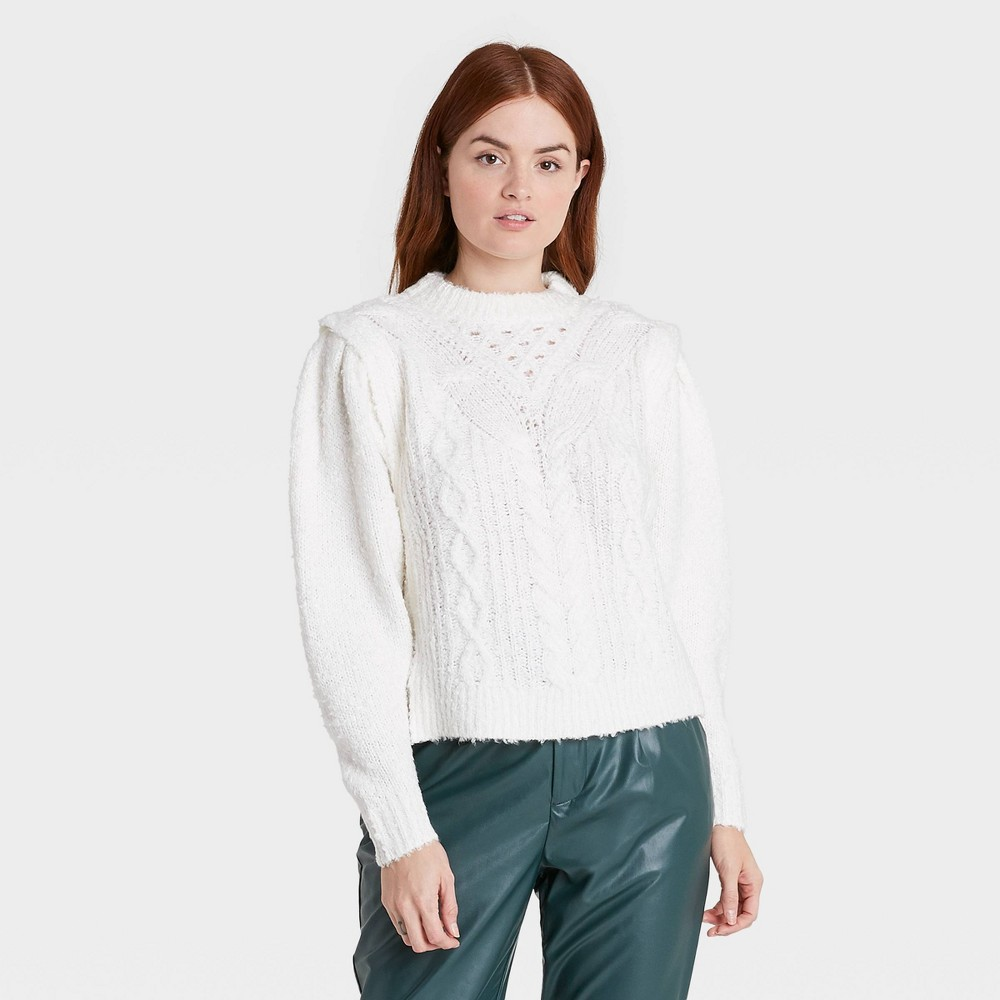 Women 39 S Crewneck Boucle Cable Pullover Sweater Prologue 8482 White M