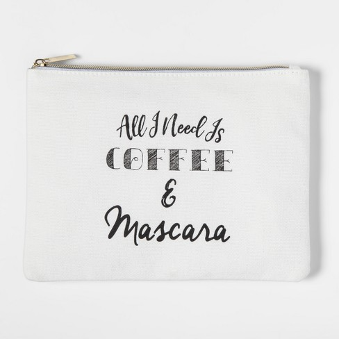 All I Need Is Coffee and Mascara Canvas Pouch - image 1 of 1