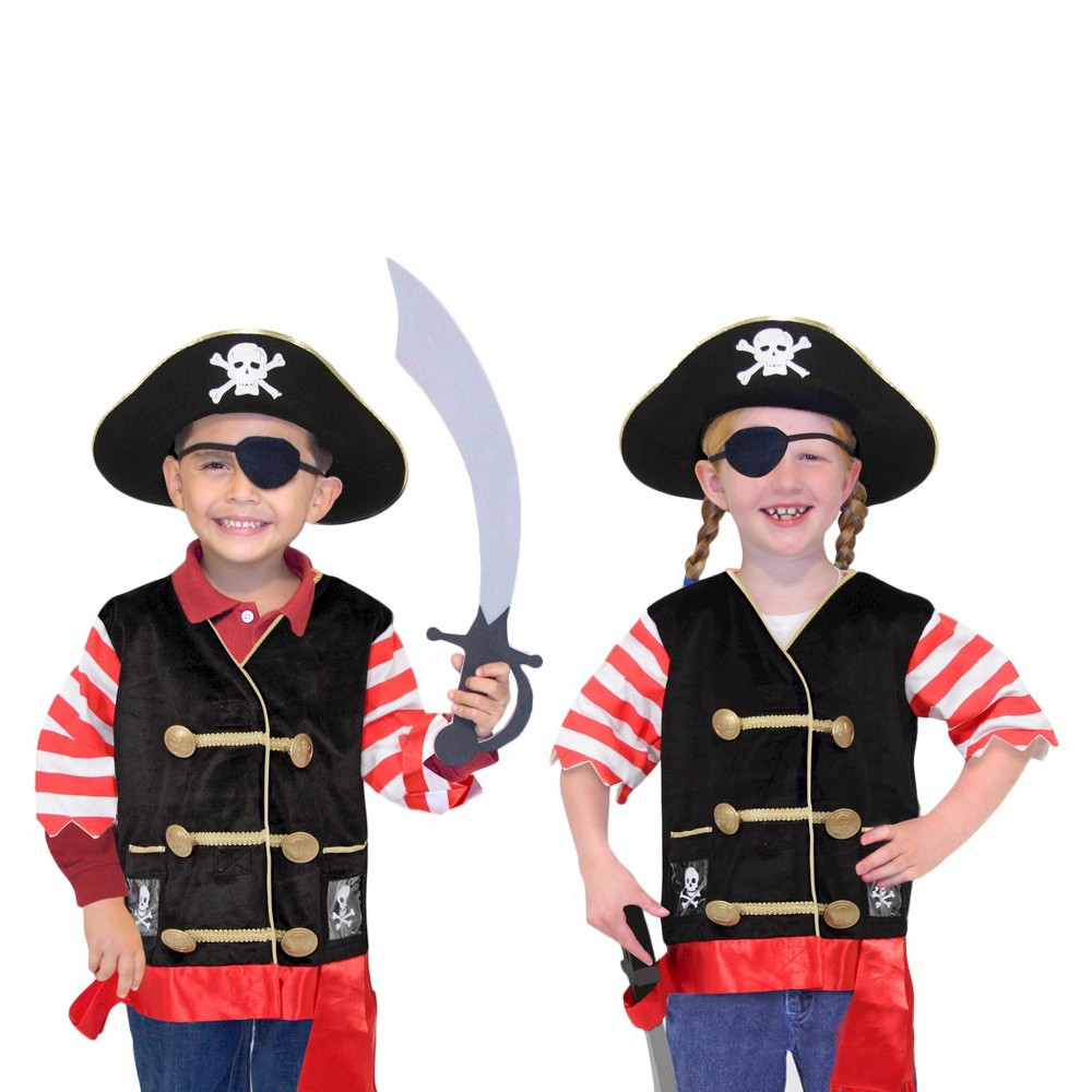 Melissa & Doug Pirate Role Play Costume Dress-Up Set With Hat, Sword, and Eye Patch, Kids Unisex, Black