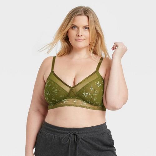 Women S Plus Size Unlined Lace Bralette Auden Green 1X