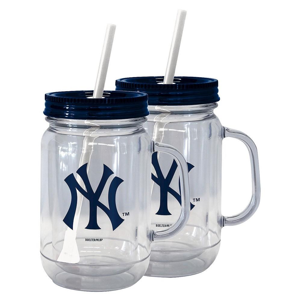 Boelter Brands MLB New York Yankees Set of 2 Handled Straw Tumbler - 20oz, Multi-Colored
