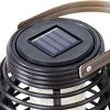 """Sunnydaze Outdoor Patio Garden Lerena LED Hanging Tabletop Solar Powered Lantern with Candle - 6"""" - Black - image 4 of 4"""