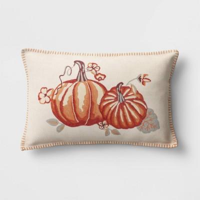 Lumbar Embroidered Twin Pumpkin Throw Pillow - Threshold™