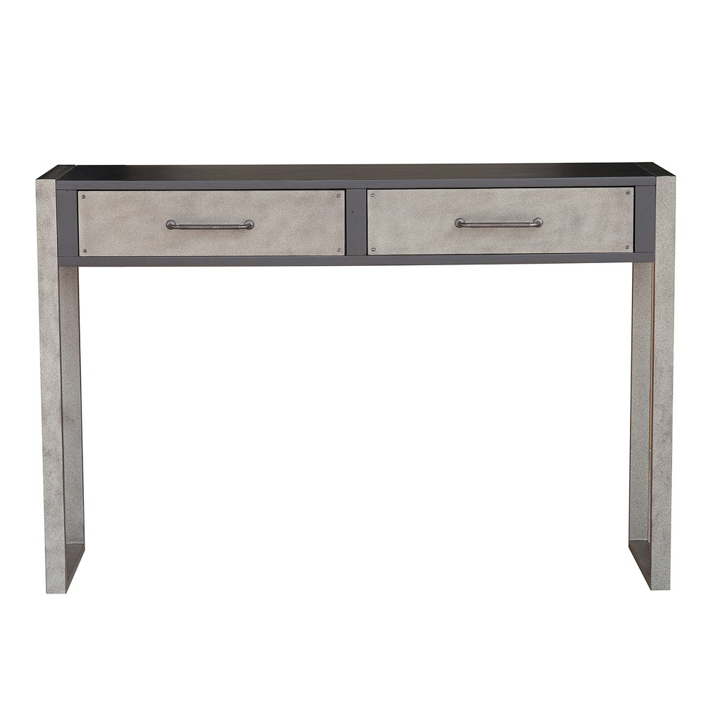 Industrial Distressed Black Birch Two Drawer Accent Storage Console Table - Brown - Pulaski