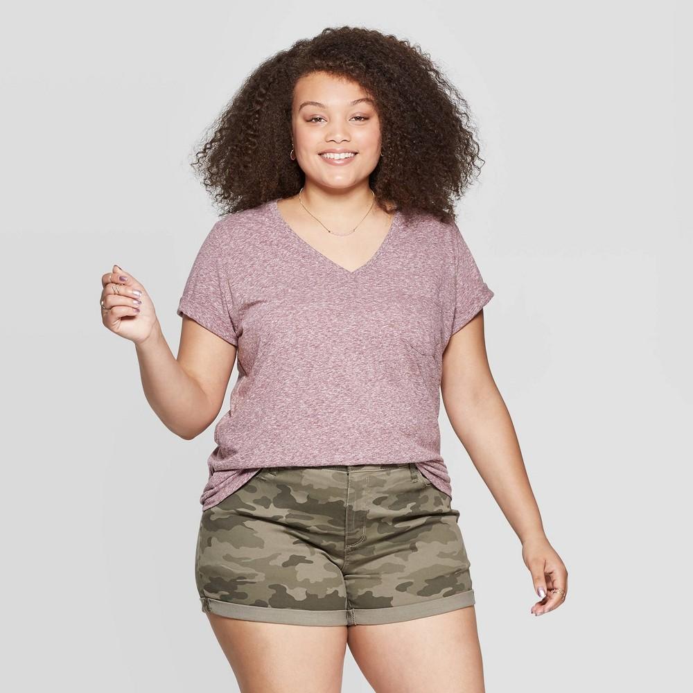 c81013f561ef8 Womens Plus Size Short Sleeve V Neck Pocket T Shirt Universal Thread  Burgundy Red 3X