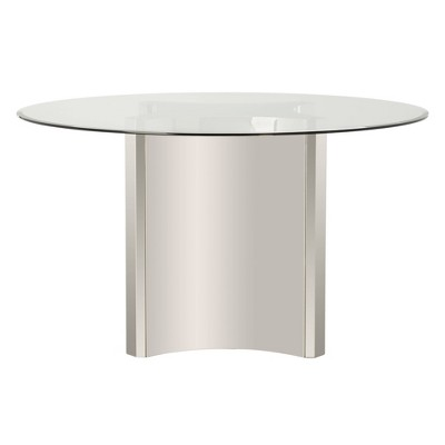 "54"" Aiza Brushed Dining Table Chrome - Safavieh"