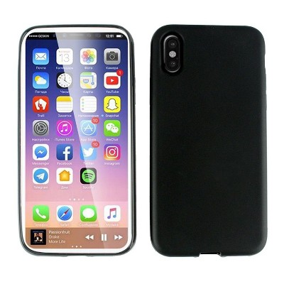 iPhone X Fashion Case, iPhone X Case, by Insten TPU Rubber Candy Skin Case Cover For Apple iPhone X, Black by Eagle