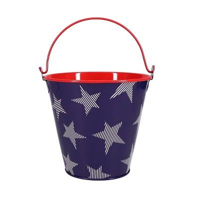 Small Tin Bucket Stars Red White Blue - Sun Squad™